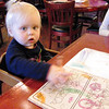 Katie asked the waitress directly for crayons.