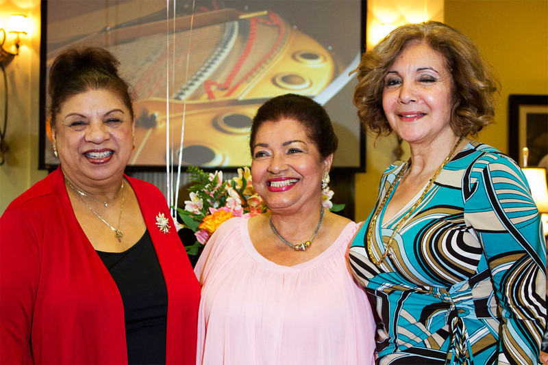 Sonia Fernandez 75th Surprise Birthday Party, 3/3/13 - Charlotte, NC: Sonia (middle) with friends, Gladys (left) and Reina (right).