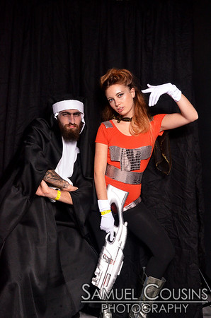 In the photobooth at Space Gallery's 2013 Halloween Party