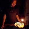 Celebrating Spencer's birthday at Karen and Michel's