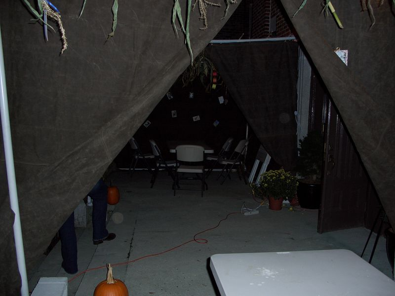 Seeing sukkah #1 from inside sukkah #2
