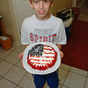 Jaxon made a patriotic dessert -- a cheesecake topped with blueberries, strawberries and whipped cream. YUMMY !!!