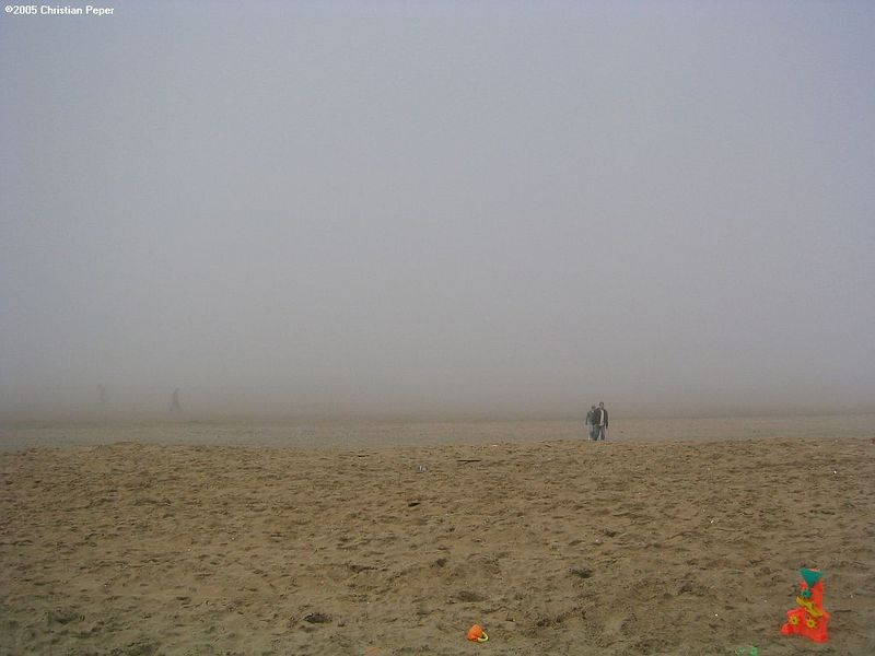 Sea fog at the beach in Scheveningen as seen from Soomers