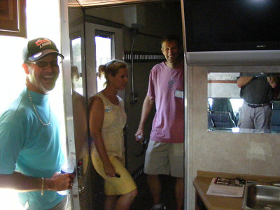 Inside Dave Knox's custom transport rig. It is a fully equiped RV with a satellite wide screen TV and room for six motorcycles in the rear!
