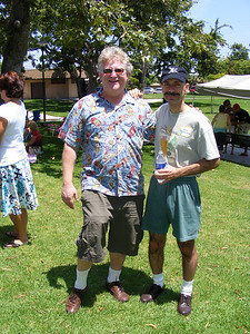 Combined Brain Power: David Adler and Vartan Piroumian.  Dave flew his family to the reunion in his private airplane, while Vartan transported himself to the event telepathically. Being fashion conscious individuals, Dave and Vartan tried their best NOT to dress alike at this event, but unfortunately chose the same socks and shoes.