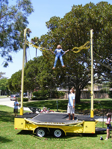 After initially wetting his pants, Dave Knox's son really began enjoying the bungee experience!
