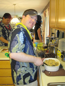 Ryan with his hawaiian stuffing...a.k.a. - stuffing with pineapple chunks!