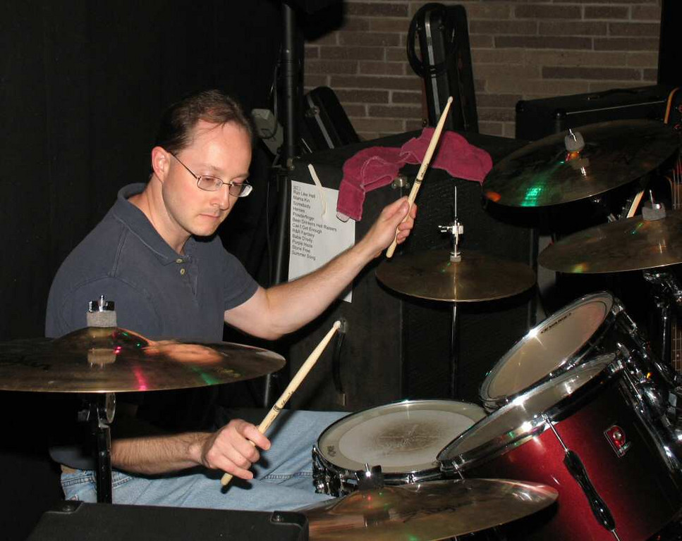 Mike on drums. Permission courtesy of the Billy North Show.