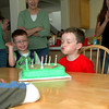 Blowing out the birthday candles (with much gusto).
