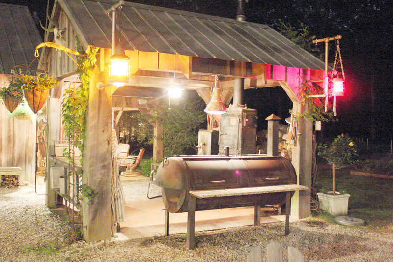 Barbecue cooking shed at night at 45th Class Reunion