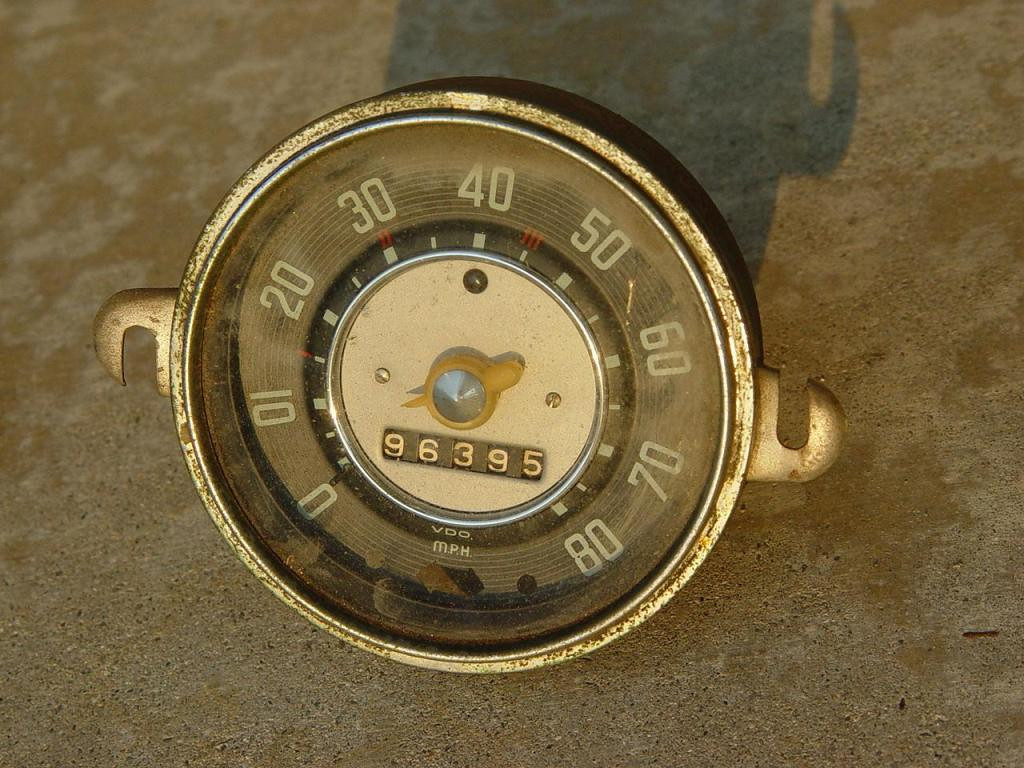 VW Beetle Clear Needle 1955 mph Speedometer. - $30<br /> Dated 9.55 and it has a broken needle & missing rear plastic insert.