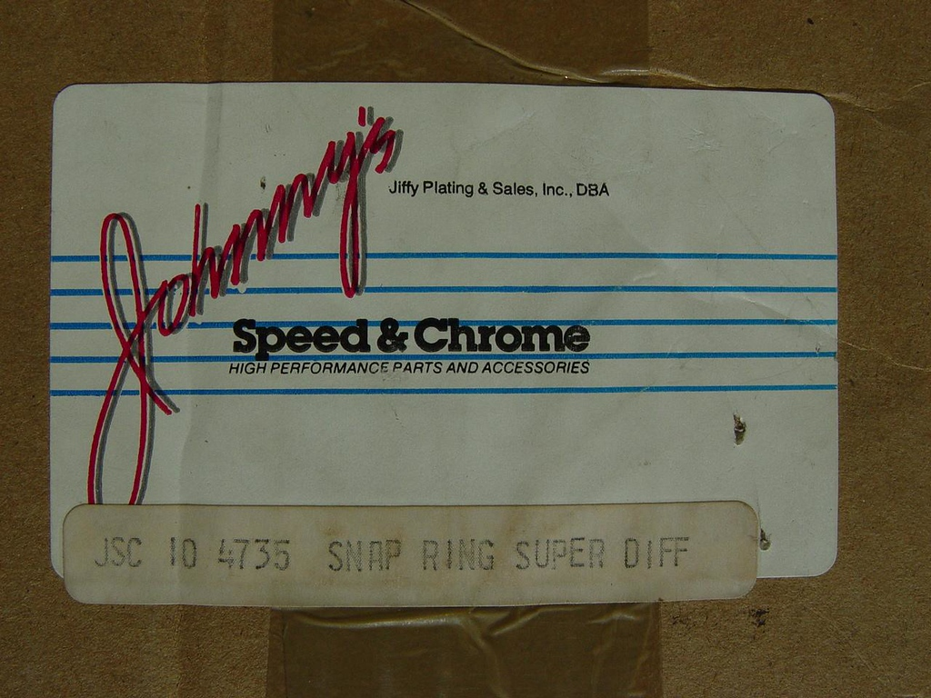 Johnny's Speed & Chrome Snap Ring Super Diff. - $145<br /> Brand new in the box.
