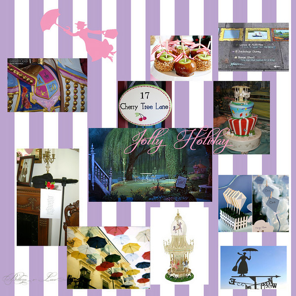 "Mary Poppins themed Birthday Party inspiration board.  Image Credits can be found at:<br />  <a href=""http://www.bellezaeluce.com/blog"">http://www.bellezaeluce.com/blog</a>"