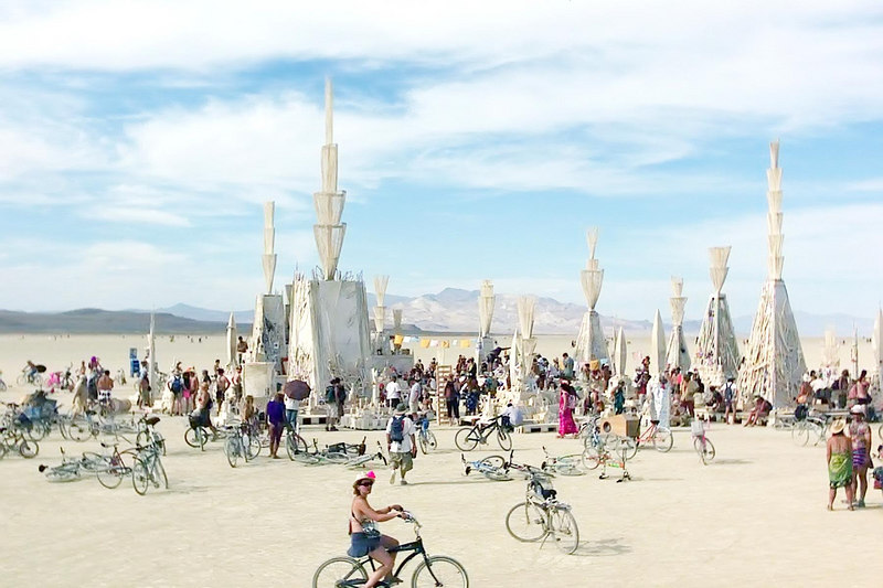 the temple is a special art project because they build it every year (they burn it on sunday night).