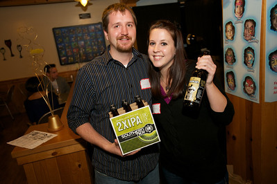 Nick Janszen and Kate Ohligschlager of Ft. Mitchell represent Southern Tier Brewing Company at Taste of the World Saturday night