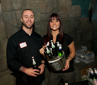 Adam and Ashley serve Grolsch and Peroni beer at Taste of the World Saturday night