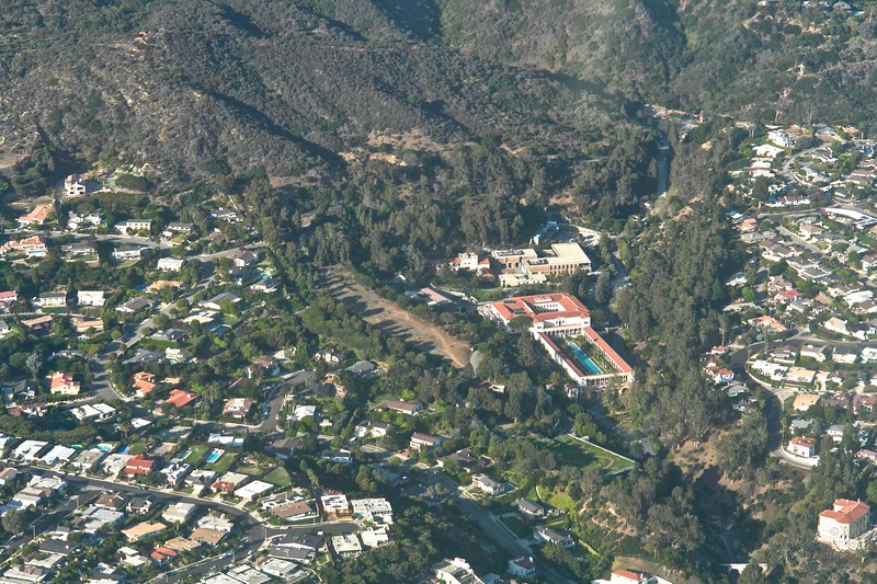 Getty Villa, aerial view