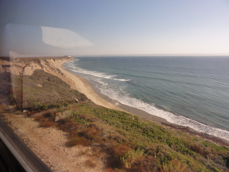 Pacific Coast from the Amtrak Coast Starlight south of Vandenberg AFB and west of Santa Barbara.