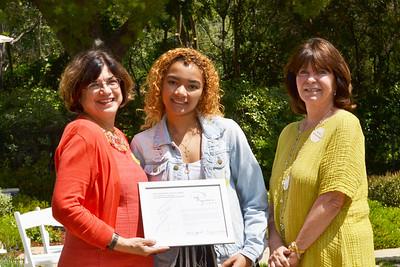 Ryman Arts' Executive Director Diane Brigham, Ryman Arts' student Emily Cattouse and PAA Impact Award chair Mary Alexander