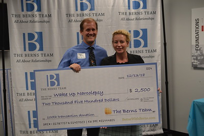 DSC_  Jason Berns gives donation to Claire Crisp from Wake Up Narcolepsy 1688