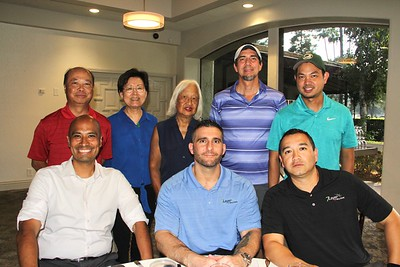 Cesar Castor (seated, from left), Michael Sagoian and Angel Cifuentes. Back: Patrick and Anne Au, Tiny Bennett, Michael Jones and Rodney Chan.