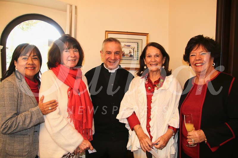 R-Lene DeLang, Mary Jane Alexander, Father Marcos Gonzalez, Virginia Jones and Barbara Voor