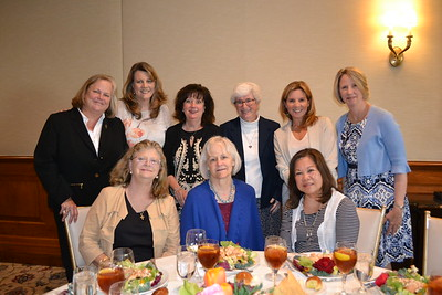 Virginia Rusk (front row, from left), Suzanne Fulps and Emma Stewart. Back: Molly Gervais, Tina Thompson, Jacky Sanmartin, Sister Sheila McNiff, Heidi Johnson and Katie Poxon.