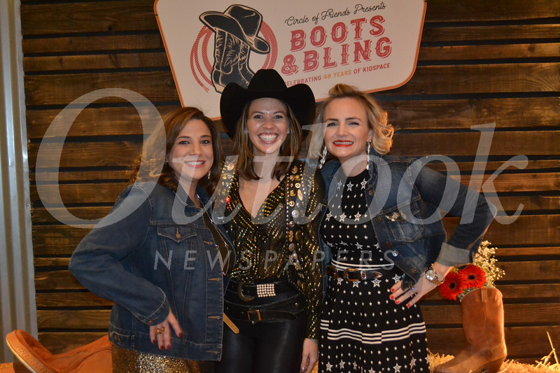 Boots and Bling co-chairs Debbie Barsom and Hayley Boaz with Circle of Friends President Claire Marco.