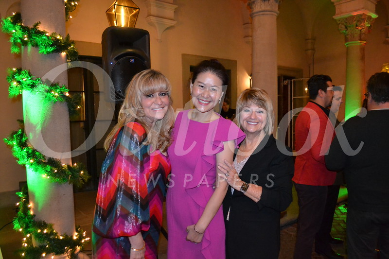 Event sponsor Michelle Chen (center) with hosts Lori Ramirez and Claudia Storey