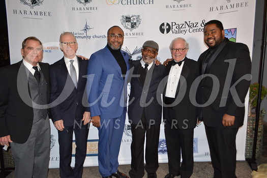 The Rev. Andy Bales, honoree; Bill Robinson, keynote speaker; the Rev. Albert Tate of Fellowship Monrovia; John Perkins, founder of Harambee; Phil Eaton, honoree; and Harlan Redmond, executive director and principal of Harambee Prep School.