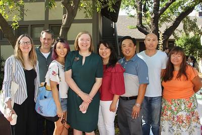 Cecily Rhett, Brian Sawyer, Caroline Shin, Head of School Elizabeth McGregor, Elaine Pan, Leo Alonzo, Henry Fan and Suko Adler