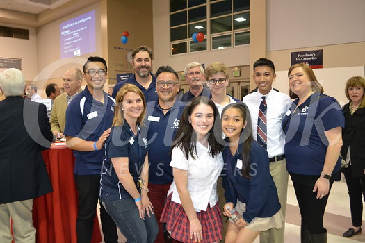 La Salle Alumni Association Board members with scholarship recipients.  Kirsten Schultz (front), Rafael Mirasol, Sarah Day and Lauren Calvario. Back: Manny Soriano, Chris Rettig, Mike Sullivan, Colby Stenzel, Garien Agapito and Tina Bonacci.