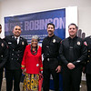 Firefighters John Benn and Alex Reyes, Betty Ford, and Firefighters Cody Hass, Sean Katt and Battalion Chief Bill Cuskey