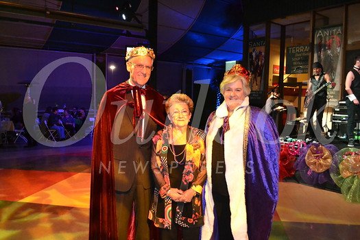 Mardi Gras King and Queen Dr  John Quigley and wife Margaret flank former patient and longtime hospital benefactor Lilah Stangeland