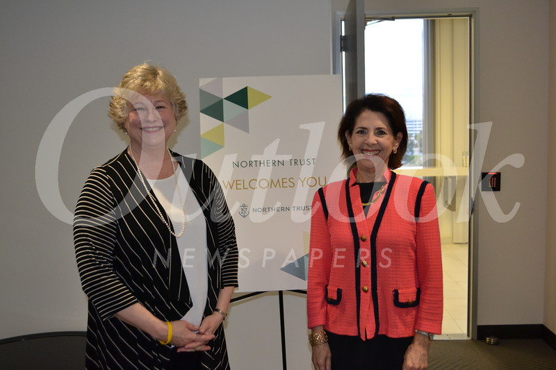 Guest speaker Claudia Sangster and Northern Trust Vice President Diane Rankin, the event's host