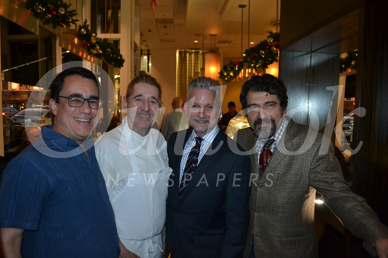 Greg McLemore, Chef Gil Saulnier, Steve Mulheim and manager <br /> Ed Mamigonian