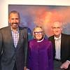 PCC Foundation Board President Bill Hawkins, artist Sigrid Burton and Joe Futtner, PCC dean of visual arts and media studies.