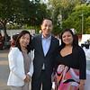 Pacific Oaks interim President Jack Paduntin is flanked by Yuki Mun and Johanna Atienza.