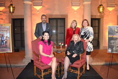 """Martha Tolles (seated at right) was the """"Hometown Legend"""" featured at the Pasadena City College Foundation's popular series at the Athenaeum last week. She is pictured with (clockwise, from top left) foundation President Bill Hawkins, Nancy Davis, Executive Director Bobbi Abram and interviewer Julie Lin."""