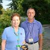 President Gloria Cox of Los Voluntarios, a volunteer organization for the Arboretum, and Jim Henrich of the Arboretum