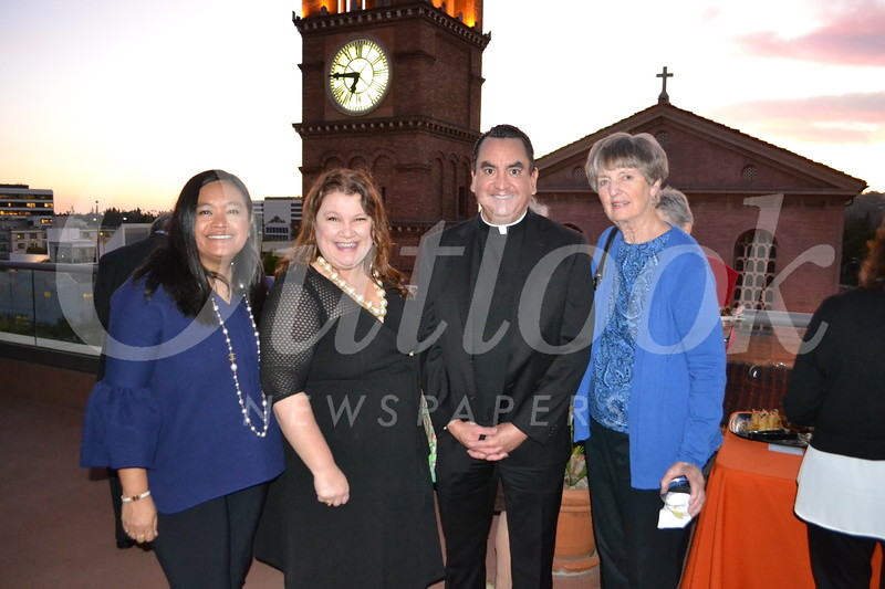 Jerilyn McAniff, Annette Ermshar, Father Paul Sustayta and Claire Bogaard