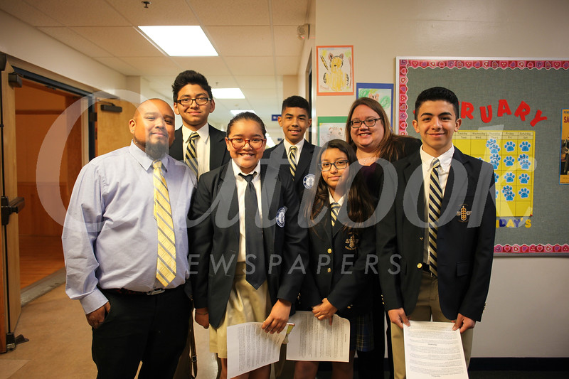 Peter Matus (front row, from left), Natalie Hernandez, Sarah Flores and Christopher Cons  Back David Abriel, Jarrel Frazier and Vice Principal Elizabeth Tramontina