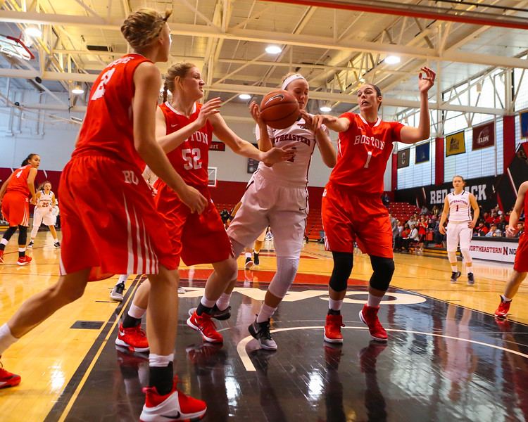 Huskies Freshman #14 Shannon Todd of York Maine grabs a rebound in the paint with BU's #52 Kara Sheftic and #1 Sophie Beaudry defending  during Friday's Women's DIV I game Between Northeastern University and Boston University on 11-11-2016 @ The Cabot Center, NU.  Matt Parker Photos