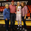 Huskies Freshman #14 Shannon Todd of York Maine poses for a photo with her Grandmother Eleanor,  Father Glenn and Mother Peggy after playing in her first regular season DIV I game against Boston University on Friday 11-11-2016 where the Huskies were winners over BU 78 to 59 @ NU.  Matt Parker Photos