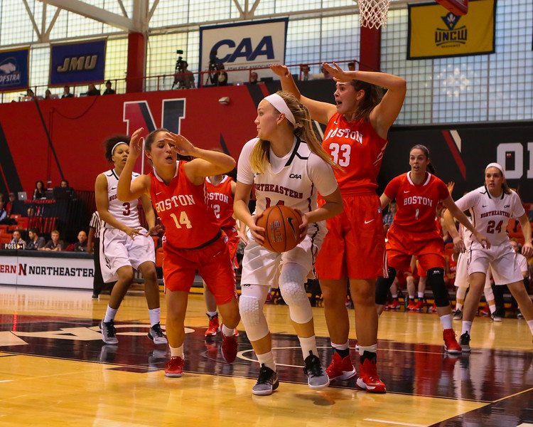 Huskies Freshman #14 Shannon Todd of York Maine looks to make an outlet pass with Terriers #33 Meshan Green and #14 Courtney latham defending during Friday's Women's DIV I game Between Northeastern University and Boston University on 11-11-2016 @ The Cabot Center, NU.  Matt Parker Photos