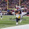 Patriots WR #15 Chris Hogan is pushed out of bounds by Steelers #28 Sean Davis at the New England Patriots vs Pittsburgh Steelers  2017 NFL AFC Conference Championships football game on Sunday 1-22-2017 @ Gillette Stadium, Foxboro, MA.  Patriots-36, Steelers-17.  Matt Parker Photos