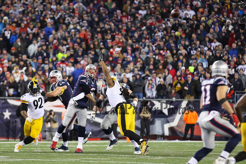 Patriots QB #12 Tom Brady throwing downfield at the New England Patriots vs Pittsburgh Steelers  2017 NFL AFC Conference Championships football game on Sunday 1-22-2017 @ Gillette Stadium, Foxboro, MA.  Patriots-36, Steelers-17.  Matt Parker Photos