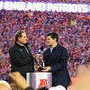 CBS's Jim Nantz presents the Lamar Hunt Trophy to Teddy Bruschi and the Patriots at the New England Patriots vs Pittsburgh Steelers  2017 NFL AFC Conference Championships game on Sunday 1-22-2017 @ Gillette Stadium, Foxboro, MA.  Patriots-36, Steelers-17.  Matt Parker Photos