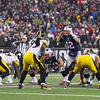 Patriots QB #12 Tom Brady calls a play from the line of scrimmage during the New England Patriots vs Pittsburgh Steelers  2017 NFL AFC Conference Championships game on Sunday 1-22-2017 @ Gillette Stadium, Foxboro, MA.  Patriots-36, Steelers-17.  Matt Parker Photos