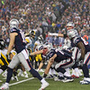 Patriots QB #12 Tom Brady calling a play at the line of scrimmage at the New England Patriots vs Pittsburgh Steelers  2017 NFL AFC Conference Championships football game on Sunday 1-22-2017 @ Gillette Stadium, Foxboro, MA.  Patriots-36, Steelers-17.  Matt Parker Photos